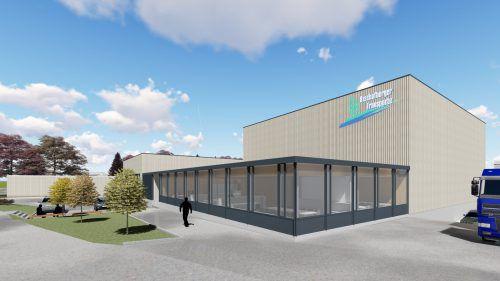 So wird die neue Firmenzentrale des Bregenzerwälder Familienunternehmens Bischofberger Transporte in Reuthe aussehen. Firma/GR