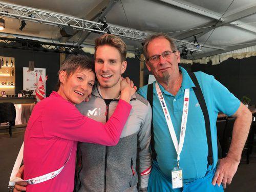 Vorarlbergs Rodel-Olympiahoffnung Thomas Steu hat mit Mama Martina und Papa Bernhard seine treuesten Fans in Südkorea dabei. Vn/HK