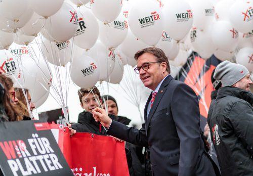 Wahlkampffinale: ÖVP-Spitzenkandidat Platter lässt sich nicht in die Karten blicken. APA