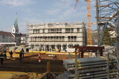 Am Jahnplatz in Feldkirch schreiten die Bauarbeiten für das Großprojekt zügig voran. Stadt