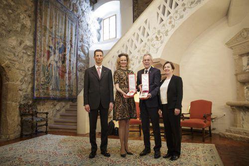 Erbprinz Alois und Erbprinzessin Sophie (links) unterhielten sich mit Alexander Van der Bellen und Doris Schmidauer auch über Grenzgänger und die EU-Präsidentschaft. Peter Lechner