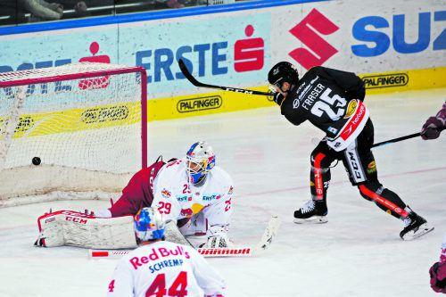 Mach's nochmal Matt! Dornbirns Toptorschütze Fraser erzielte mit dem 2:2-Ausgleich in Salzburg seinen 28. Saisontreffer.gepa