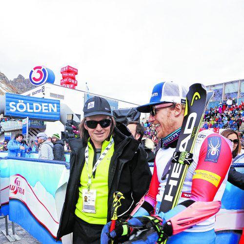 Rainer Salzgeber mit Ted Ligety, einer von rund 30 Aktiven des Head-Rebels-Teams im Ski-Weltcup.head