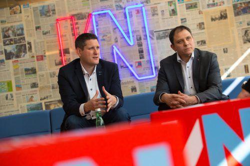 Steve Mayr aus Fraxern (links) und Markus Hartmann aus Dünserberg sind die Neuen im ÖVP-Landtagsteam. VN/Hartinger