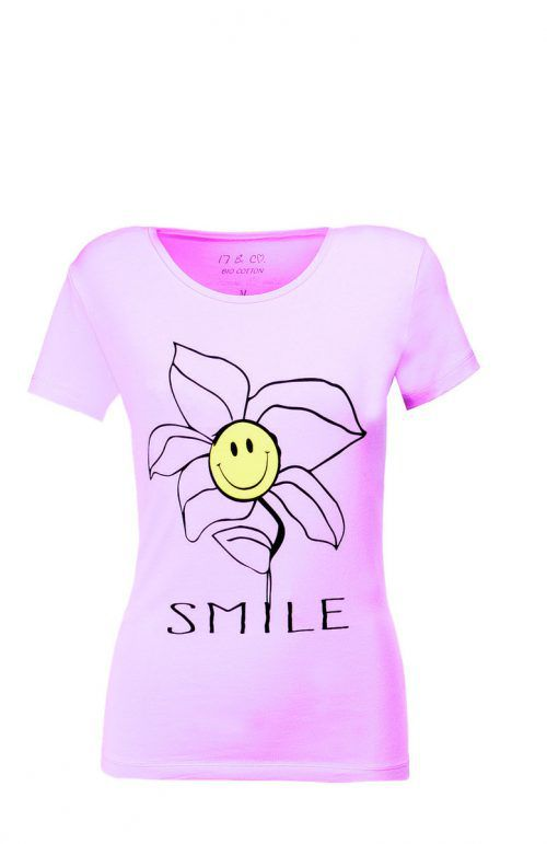 Stimmungsmacher             Rosa Shirt mit fröhlichem Aufdruck, gesehen bei Fussl Modestraße um 15,99 €.