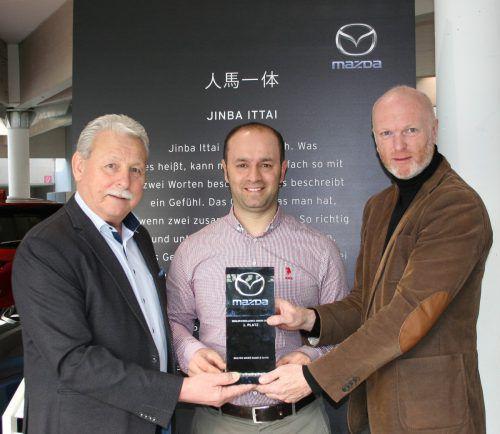 v.l.: Walter Maier, Savas Tip und Thomas Ladstätter (Mazda Austria). Mazda