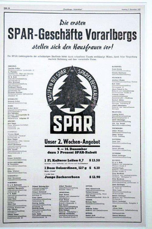 1957 Präsentation mit einem ersten Inserat in den Vorarlberger Nachrichten.