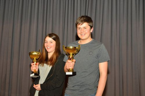 Anna Matt und Marian Nigsch konnten im Rahmen der Preisverteilung in Ludesch die Siegerpokale des diesjährigen Walgaucups in Empfang nehmen. Burtscher