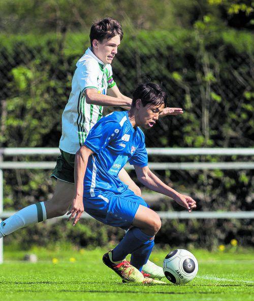 Daniel Au Yeong erzielte beim 9:0-Kantersieg des AKA-U-15-Teams gegen Rapid Wien die Treffer zum 2:0, 5:0 und 8:0.steurer