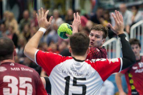 Daniel Dicker erzielte fünf Treffer und war hinter Marko Tanaskovic zweiterfolgreichster Harder Werfer gegen Krems.VN/Sams
