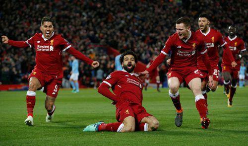 Der Ägypter Mohamed Salah leitete mit seinem 38. Pflichtspieltor zum 1:0 das Festival der Reds ein. Am Ende jubelte Liverpool über einen 3:0-Heimsieg gegen Man City.AFP