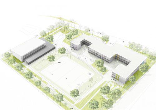 Die Turnhalle und 300 Raummodule für die Integrierte Sekundarschule Berlin-Mahlsdorf liefert Kaufmann Bausysteme. KBS