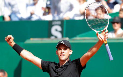 Dominic Thiem steht nach dem Sieg über Novak Djokovic in Monte Carlo erstmals im Viertelfinale.reuters