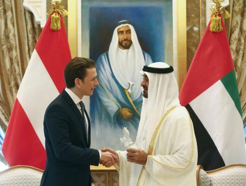 Kanzler Sebastian Kurz mit Kronprinz Scheich Mohammed bin Zayed al-Nahya. APA