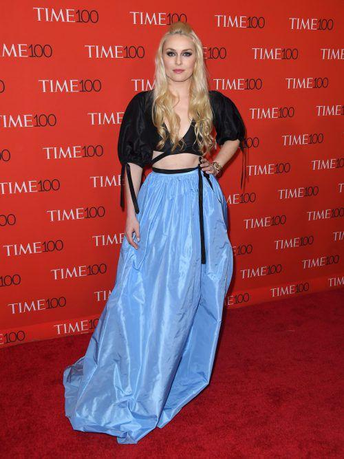 Lindsey Vonn in auffälliger Robe bei der Gala des Time Magazins in New York. apa