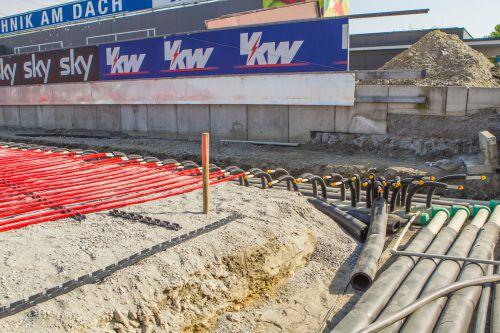Mit dem Bau der Fohrenburger Fantribüne schreitet das Stadionprojekt in Altach zügig voran.Steurer/MS/Hellriegl/Margreitter