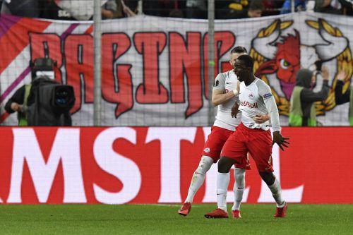 Mit einem Gewaltschuss brachte Amadou Haidara Salzburg im Rückspiel gegen Lazio erstmals in Führung.ap