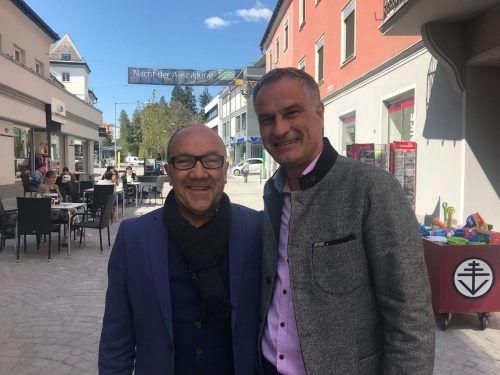 Paul Ammann (l.), Urgestein der Volkspartei, ist jetzt Wahlkämpfer für SP-Vizestadtchef Mario Leiter. VN