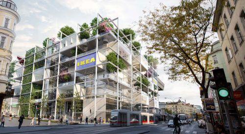 So soll der Ikea-Standort am Wiener Westbahnhof aussehen. Er wird das erste innerstädtische Projekt in Österreich. Zoom Visual project gmbh
