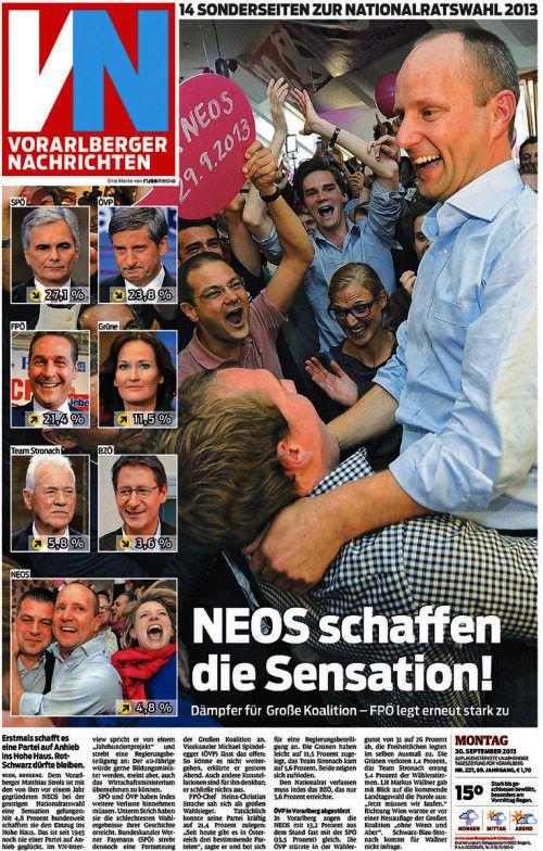 29. September 2013: Strolz führte Neos in den Nationalrat.