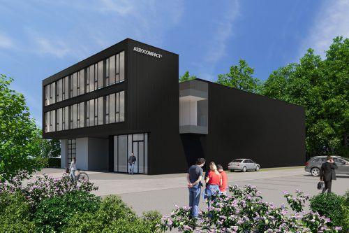 Aerocompact errichtet in Nachbarschaft des bisherigen Firmensitzes eine rund 1000 Quadratmeter große Lagerhalle samt zweigeschoßigem Bürotrakt. Aerocompact