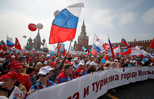 Auf dem Roten Platz in Moskau kamen 120.000 Menschen zusammen. reuters