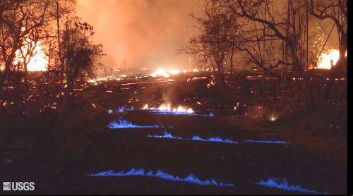 Brennendes Methan sorgt für blaue Flammen.AP