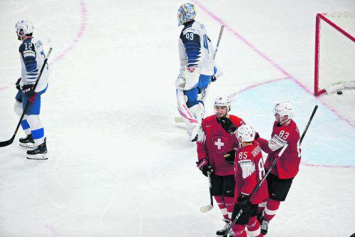 Drei Eidgenossen mit NHL-Erfahrung: Die Stürmer Kevin Fiala, Sven Andrighetto und Joel Vermin.gepa
