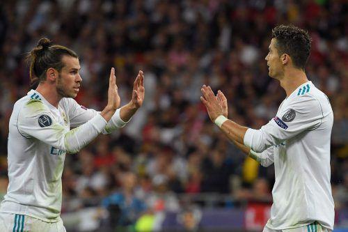 Ein Duo, das nach Reals drittem CL-Titel in Folge aufhorchen ließ: Matchwinner Gareth Bale (l.) und Cristiano Ronaldo.afp