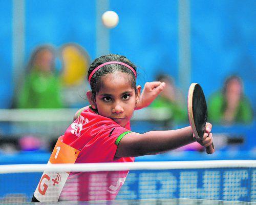 Fathimath Dheema Ali holte bei der WM den einzigen Satz für die Malediven.apa