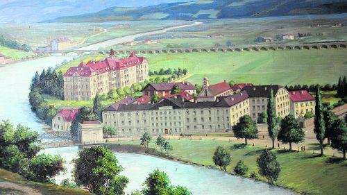 Historische Ansicht von Mutterhaus und Sanatorium der Barmherzigen Schwestern Innsbruck-Kettenbrücke.