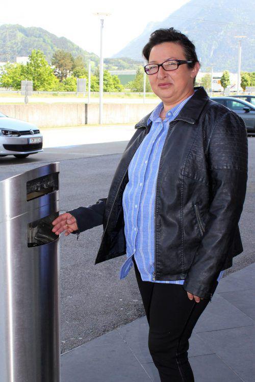In diesem Mülleimer fand Fatma Keles die leere Geldbörse. VN/JS