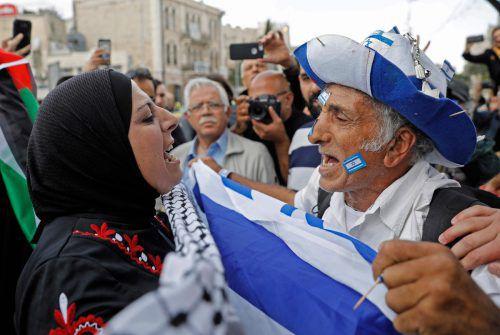 Konfrontationen zwischen Palästinensern und Israelis am Jerusalemtag. afp