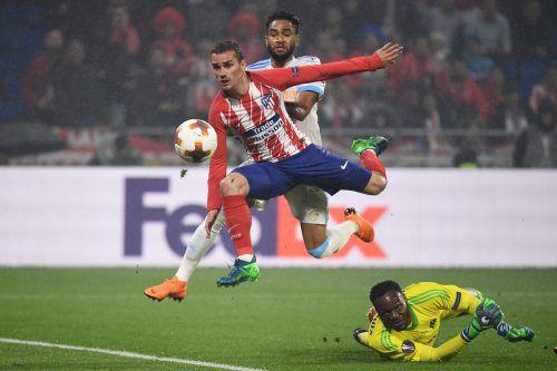 Mit diesem Lupfer bezwang Atléticos Superstar Antoine Griezmann Tormann Steve Mandanda von Olympique Marseille zum zweiten Mal und besiegelte den Europa-League -Triumph.afp
