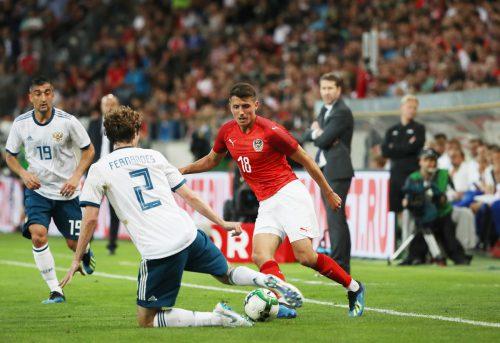 Mit seinem dritten Länderspieltreffer entschied der Tiroler Alessandro Schöpf in seinem Heimstadion die Partie gegen Russland.gepa