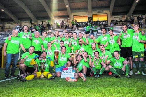 Nach Finalniederlagen 2013 und 2016 triumphiert der Dornbirner SV im dritten Anlauf mit einem 1:0-Erfolg über Höchst im Endspiel des 42. Uniqa-VFV-Cups. VN/Sams