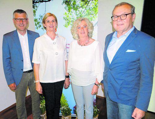 Obmann Herbert Schwendinger, LR Katharina Wiesflecker, GF Gaby Wirth und VGKK-Obmann Manfred Brunner (v.r.). TF