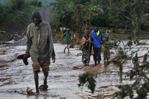 Schwere Regenfälle haben zu einem Dammbruch in Kenia geführt.AFP