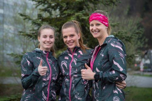 Verena Palli, Sarah Meusburger und Desideria Mungenast (v. l.) sind schon bestens für den Frauenlauf gerüstet.vn/paulitsch