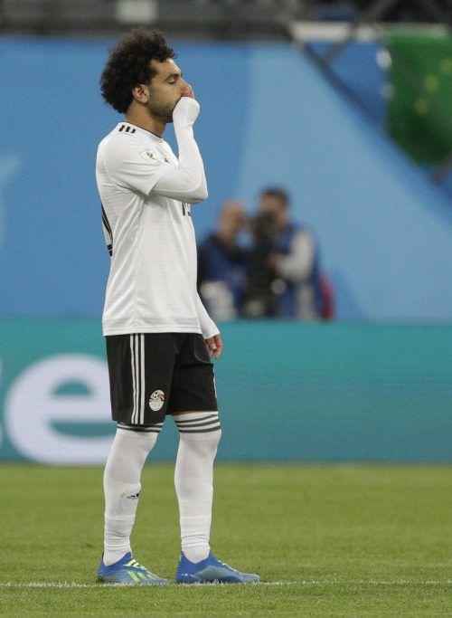 Ägyptens Superstar Mo Salah war die Enttäuschung nach dem Match anzusehen.afp