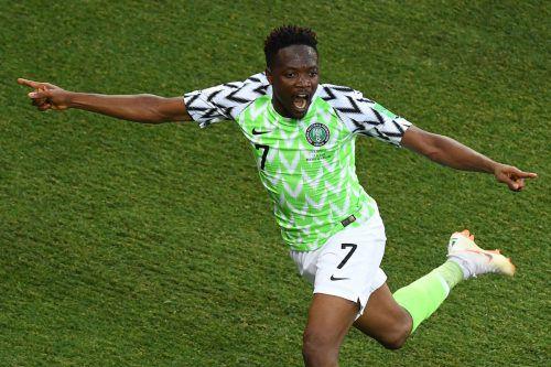 Ahmed Musa, Stürmer bei ZSKA Moskau, schoss Nigeria mit zwei Toren gegen Island ins Glück.apa