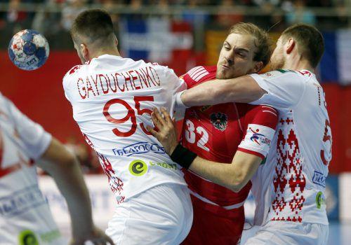 Bei der EM-Endrunde im Jänner in Kroatien mussten sich Gerald Zeiner und Co. Weißrussland mit 26:27 (12:14) geschlagen geben.ap