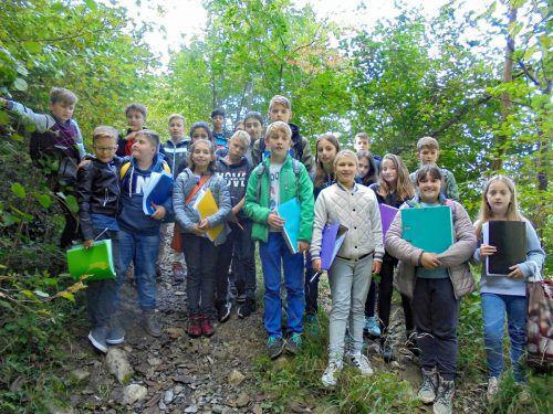 """Bei einer Exkursion in den Wald betrieben die Schüler der 2b-Klasse der Dornbirner Mittelschule Lustenauerstraße """"Feldforschung"""". lcf"""