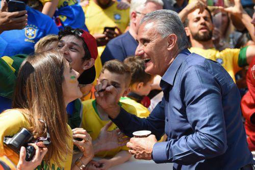 Brasiliens Cheftrainer Tite ist bei den brasilianischen Fans äußerst beliebt. Das zeigte sich zuletzt auch beim Testspiel gegen Kroatien in Liverpool.afp