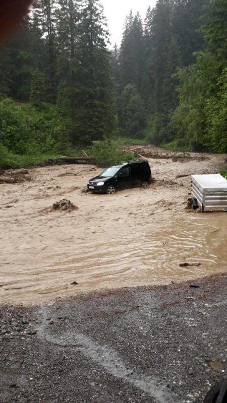 Das Kleinwalsertal wurde am stärksten vom Starkregen betroffen. Feuerwehr Riezlern
