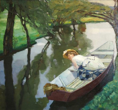 """Das Kunstwerk """"Dame im Kahn"""", um 1911."""