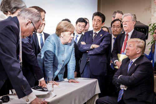 Ein G7-Bild zieht um die Welt. Im Mittelpunkt: Die deutsche Kanzlerin Merkel. Ihr Gegenüber: US-Präsident Trump. REUTERS