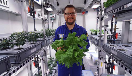 "Forscher Paul Zabel mit dem gezogenen ""Antarktis-Salat"". AP"