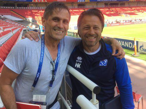 Bei der WM in Moskau traf Christian Adam Island-Cotrainer Helgi Kolvidsson.