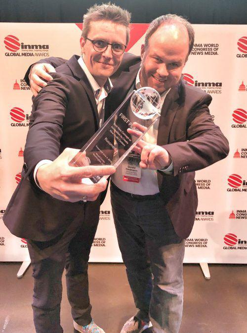 Georg Burtscher und Gerold Riedmann nahmen die Awards in Washington entgegen.vol
